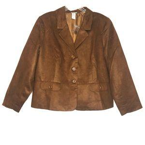Vicki Wayne Vintage Suede Brown Blazer Jacket 20W